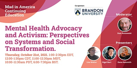 Mental Health Advocacy and Activism: Perspectives on Systems Transformation tickets