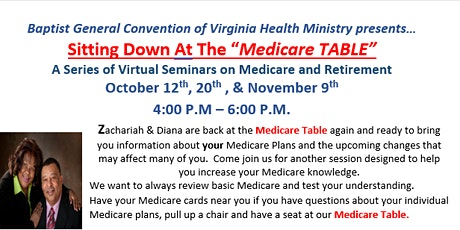 "Sitting Down At The ""Medicare TABLE"": Virtual Seminar Series tickets"