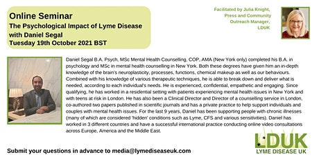 The Psychological Impact of Lyme Disease with Daniel Segal tickets