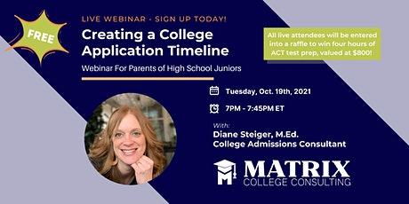 WEBINAR: CREATING A COLLEGE APPLICATION TIMELINE tickets