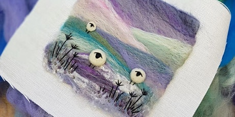 Felting a Winter Landscape - needle felted and embroidered picture tickets