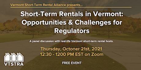 Short-Term Rentals: Opportunities & Challenges for VT Regulators tickets