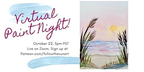 Virtual Paint Night: Watercolor Beach Sunset! tickets