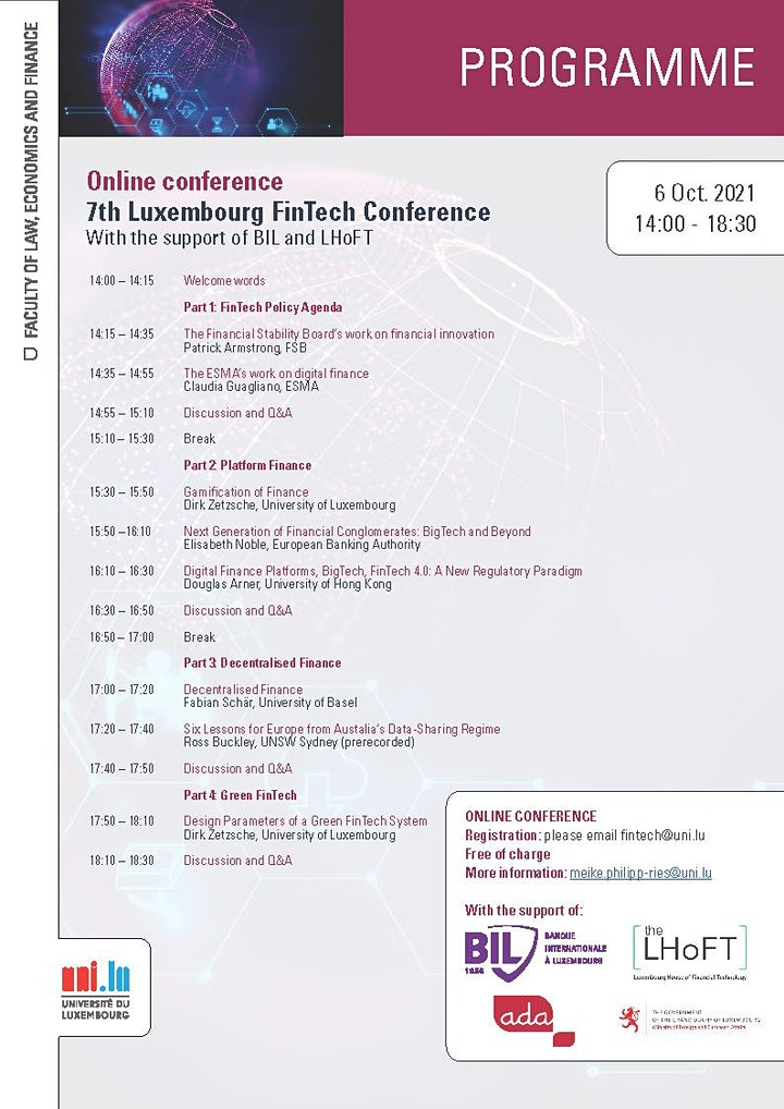 7th Luxembourg FinTech Conference - Online conference image