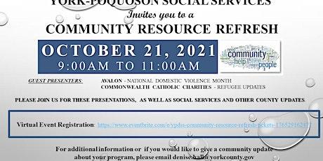 YPDSS Community Resource Refresh tickets