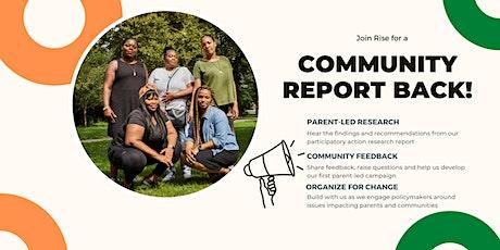 Parents' Platform Community Report Back tickets