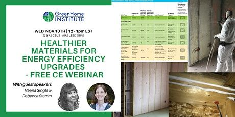 Healthier materials for energy efficiency upgrades - Free CE Webinar bilhetes