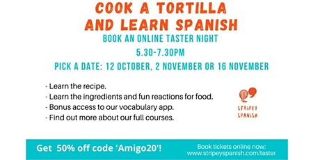Cook and Learn Spanish Taster Class |  2 November 5.30-7.30pm | ONLINE tickets