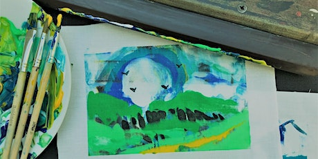Mono screen printing abstract landscapes ONLINE class - Hot Drinks & Inks tickets