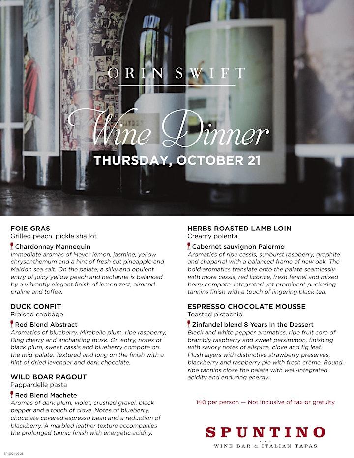 Orin Swift Wine Dinner - Clifton, NJ image