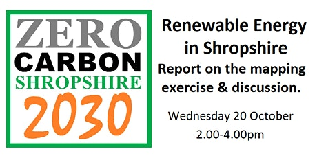 Renewable Energy in Shropshire - mapping report and discussion tickets