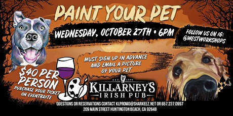 Paint your pet  at Kilarneys in HB  - Halloween  tickets