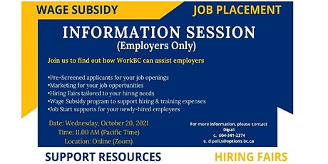WorkBC Information Session (for Employers) - Oct 20 @ 11am tickets
