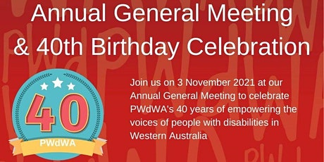 PWdWA Annual General Meeting 2021 and 40th Birthday Celebration tickets