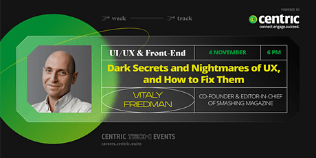 Vitaly Friedman: Dark Secrets and Nightmares of UX, and How To Fix Them tickets