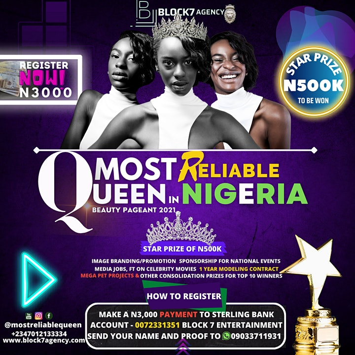 REGISTRATION OPENED - MOST RELIABLE QUEEN IN NIGERIA PAGEANT image
