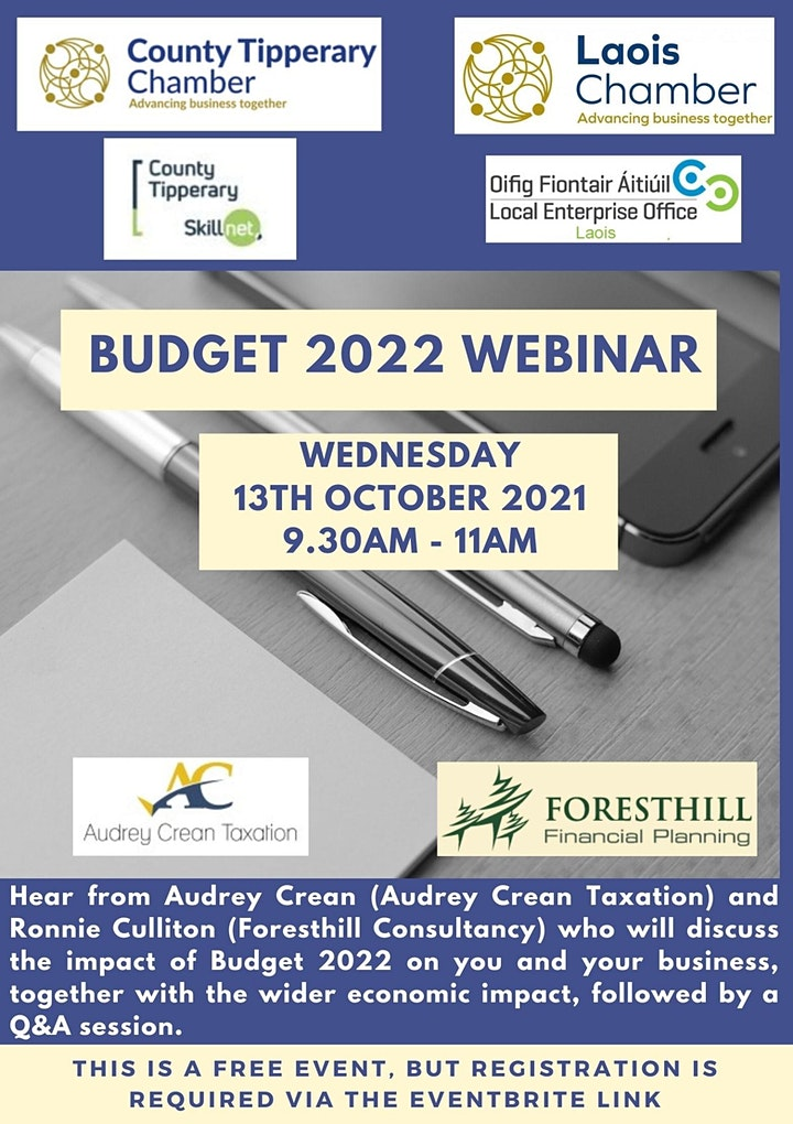 County Tipperary Chamber and Laois Chamber Budget 2022 Webinar image