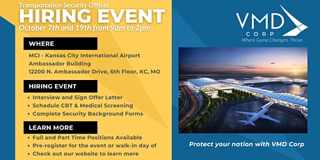 Airport Security Hiring Event 10/19 in Kansas City, MO - Join VMD Corp tickets