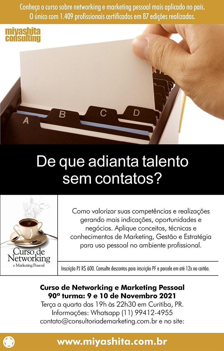 Imagem do evento Curso de Networking e Marketing Pessoal - 90ª turma. Em Curitiba.