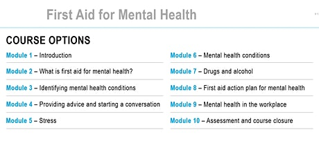 Level 2 First Aid for Mental Health Qualification tickets