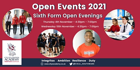 City of London Academy Sixth Form Open Events 2021 tickets
