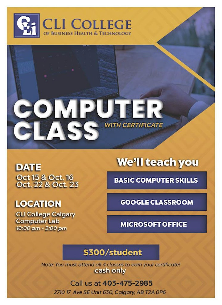 Computer Class with Certificate | Call 403-475-2985 image