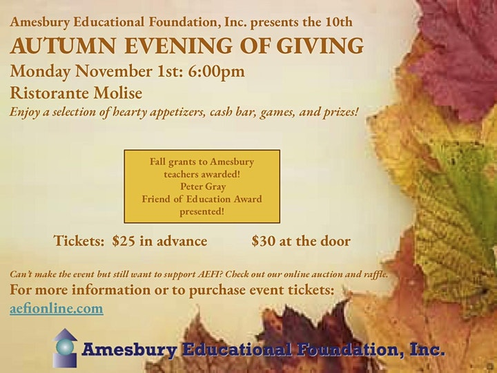 Amesbury Educational Foundation, Inc. 10th Autumn Evening of Giving image