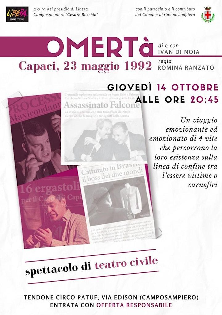 Immagine OMERTA', Capaci 23 Maggio 1992 -spettacolo su Giovanni  Falcone.