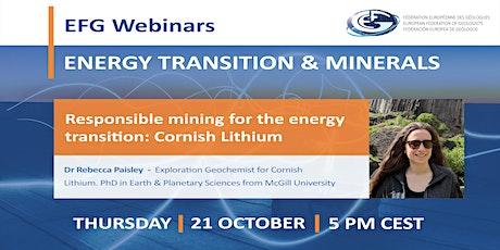 EFG Webinar - Responsible mining for the energy transition: Cornish Lithium tickets