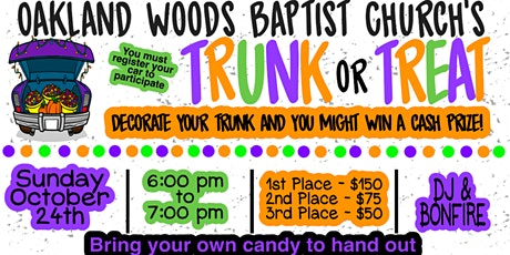 TRUNK OR TREAT CAR REGISTRATION ONLY LINK tickets