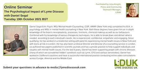 The Psychological Impact of Lyme Disease with Daniel Segal entradas
