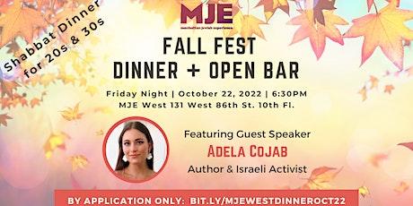 Fall Fest Friday Night Shabbat Dinner MJE West Featuring Adela Cojab tickets