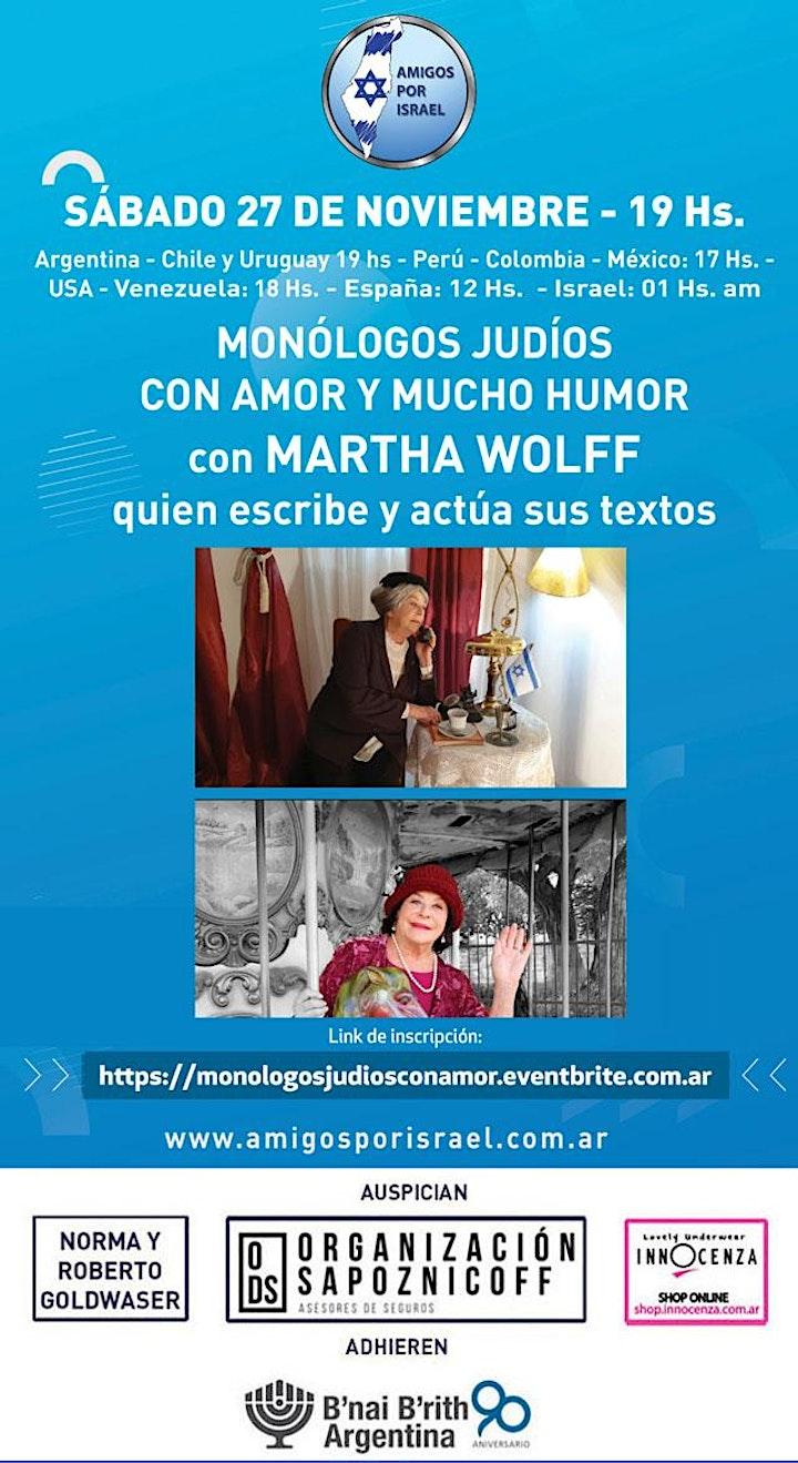Imagen de MONOLOGOS JUDIOS CON AMOR Y MUCHO HUMOR con MARTHA WOLFF