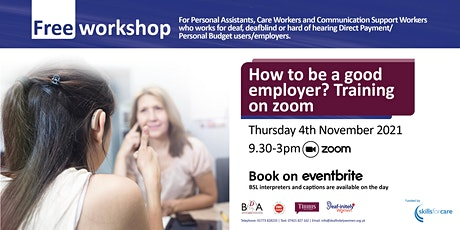 How to be a good employer? Training on zoom - Funded by Skills for Care tickets