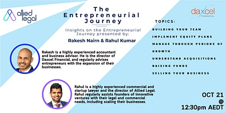 Entrepreneurial Journey - Growth, Expansion & Raising Funds tickets