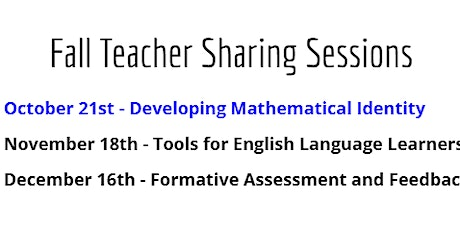 DCCTM October Teacher Sharing Session: Developing Mathematical Identity tickets
