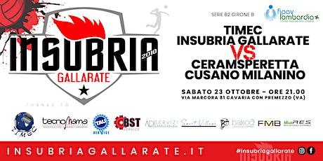 Serie B2 - TIMEC INSUBRIA GALLARATE vs CERAMSPERETTA CUSANO MILANESE biglietti