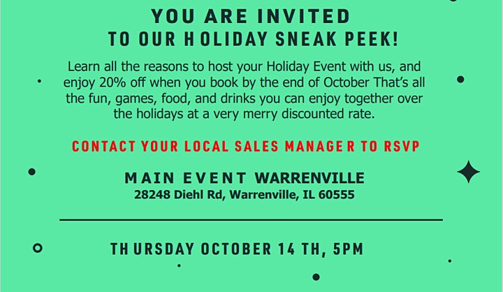 Holiday Party Sneak Peak at Main Event Warrenville image