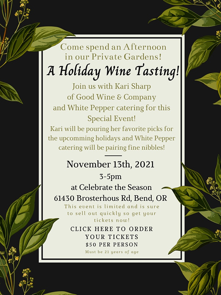 Holiday Wine Tasting in the Garden! image