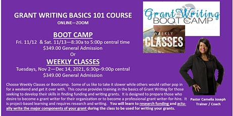 Grant Writing Basics 101 Bootcamp or Weekly Classes (Your Choice) tickets