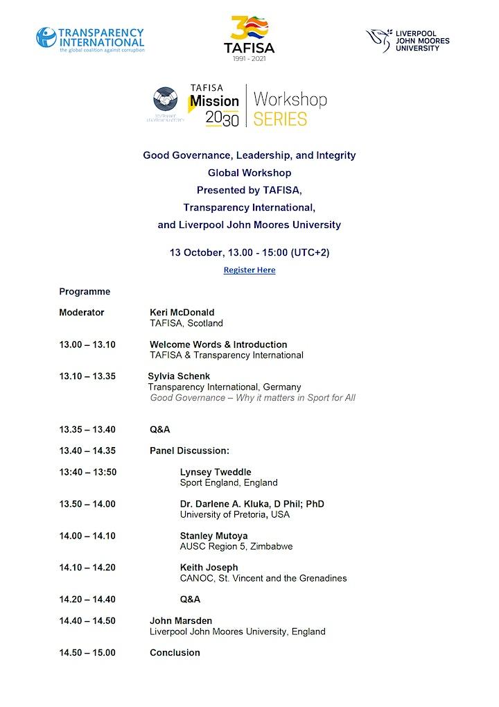 Workshop: Good Governance, Leadership & Integrity image