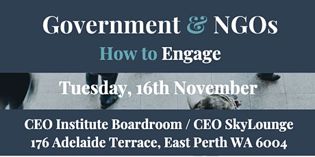 Government and NGOs - How to Engage tickets