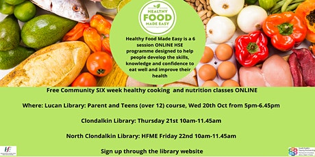 Free Six Week Healthy Cooking and Nutrition Classes ONLINE tickets