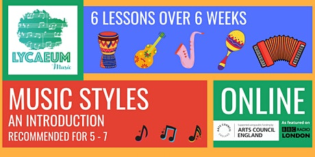 Music Styles: An Introduction (5 - 7yo) - Pick your weekly time slot tickets