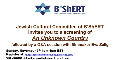"""Screening of movie """"An Unknown Country"""" by filmmaker Eva Zelig tickets"""