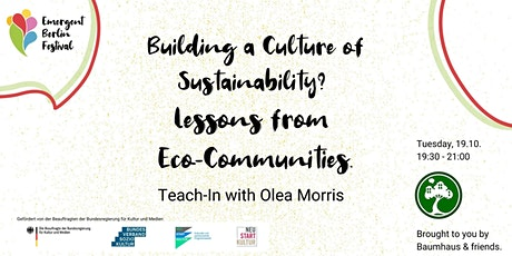 Building a Culture of Sustainability? Lessons from Eco-Communities. Tickets