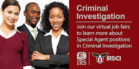 IRS Virtual Job Fair about Criminal Investigation Special Agent Position biglietti