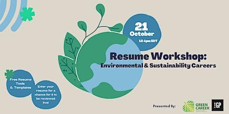 Resume Workshop: Environmental & Sustainability Careers tickets