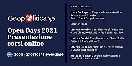 Open days 2021. Presentazione corsi online biglietti