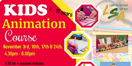 Kids Animation Course , 7-10 years, After school, Wed's Nov 3,10,17,& 24th tickets